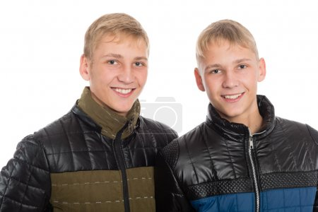 Twin brothers in fall clothes
