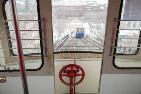 View from the window of the car funicular