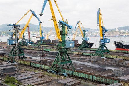 Loading of rolled metal at the port of Nakhodka, Russia