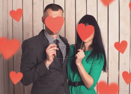 Photo for Couple of man and woman with shape of red heart. Love in Valentine's day. - Royalty Free Image