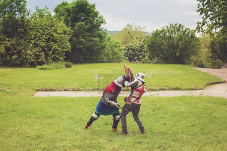Medieval tournament between two knights