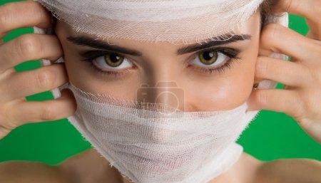 A bandage on a patient
