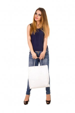 The woman with white handbag