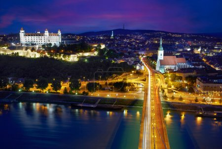 Aerial view of Bratislava after sunset, Slovakia