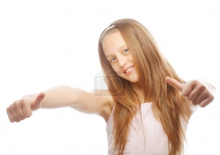 girl showing thumbs up isolated one white