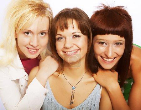 Photo pour Trois adolescentes assez contents - image libre de droit