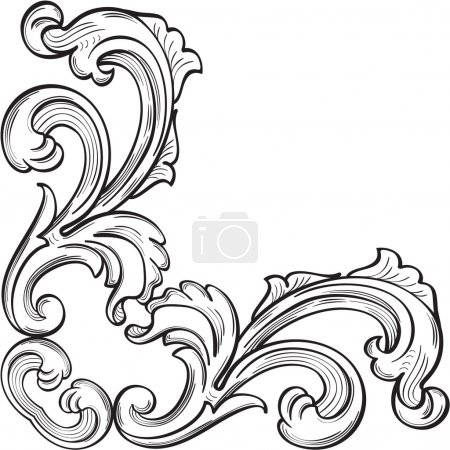Illustration for Baroque corner nice element on white - Royalty Free Image