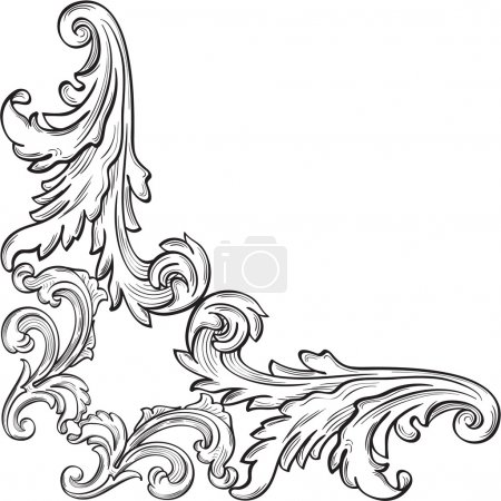 Illustration for The corner with nice acanthus leaf on white - Royalty Free Image
