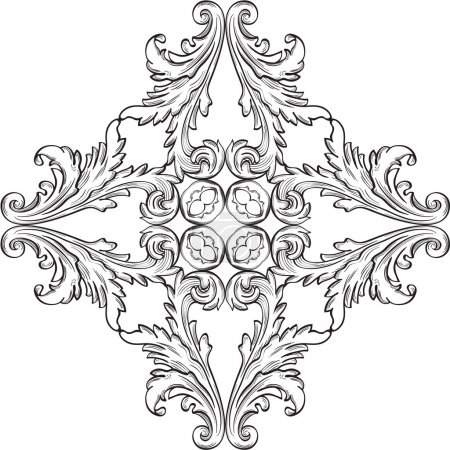 Illustration for The rosette with acanthus leaf on white - Royalty Free Image