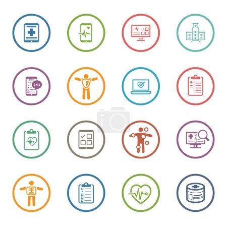 Illustration pour Ensemble d'icônes médicales et de soins de santé. Flat Design. Isolé. - image libre de droit
