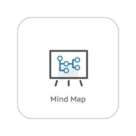 Illustration pour Icône de carte mentale. Concept d'entreprise. Flat Design. Illustration isolée. - image libre de droit