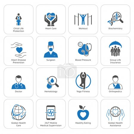 Illustration for Medical and Health Care Icons Set. Flat Design. Isolated. - Royalty Free Image