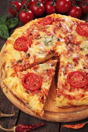 Italian spaghetti pizza