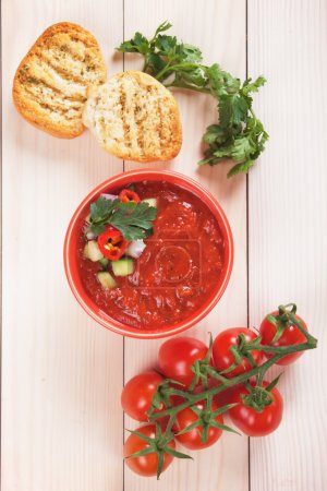 Photo for Gazpacho, spanish raw tomato and vegetable soup - Royalty Free Image