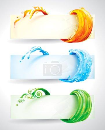 Illustration pour Ensemble de feu, d'eau et d'éléments verts fond de bannière . - image libre de droit