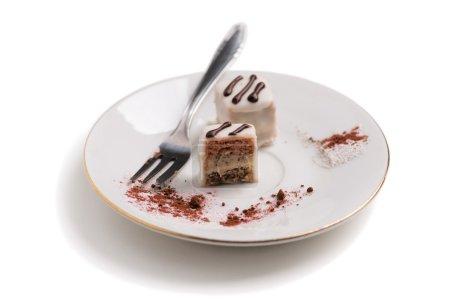 Photo pour Vue latérale ou gâteau croisé sur soucoupe. Texture et ingrédient utilisé pour ce gâteau sont visibles . - image libre de droit