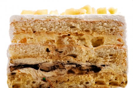 Photo pour Vue latérale ou gâteau croisé. Texture et ingrédient utilisé pour ce gâteau sont visibles. Un styliste alimentaire professionnel a été utilisé pour cette image . - image libre de droit