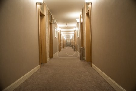 Corridor with stairs into hotel