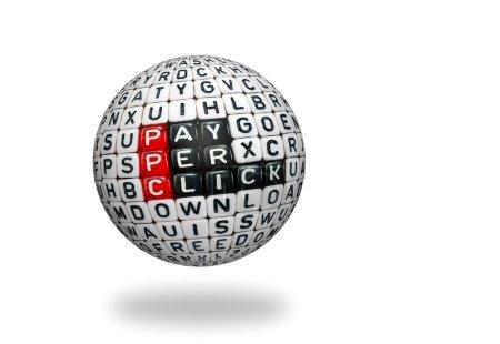 Photo pour Texte PPC, payer par clic écrit sur des cubes sur sphre 3d - image libre de droit