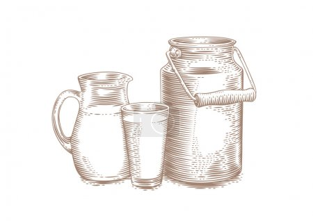 Milk can, pitcher and glass