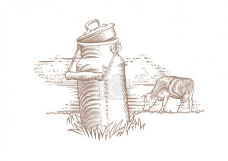 Milk can and brown cow