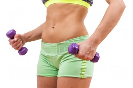 Photo for Fitness Slim Sporty Woman body, Training with dumbbells - Royalty Free Image