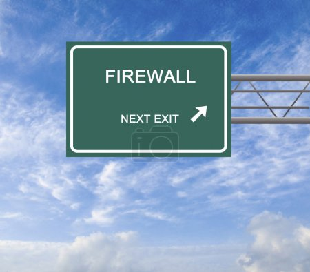 Direction road sign to firewall