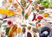 Různé bylinky, koření a zeleniny pro vaření