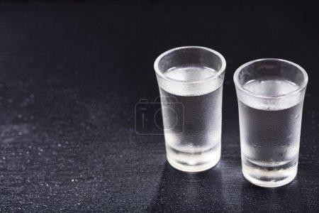 cold glasses of vodka