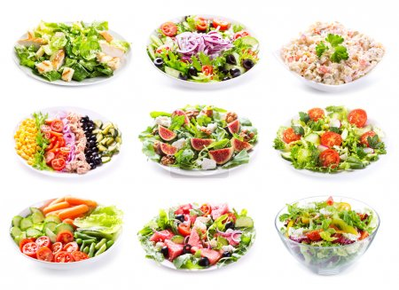 Photo for Set of various salads on white background - Royalty Free Image