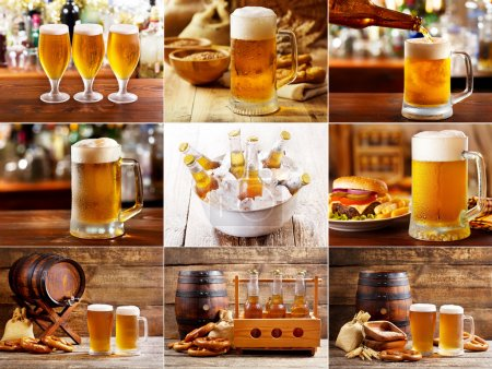Photo for Beer collage with various glasses and bottles - Royalty Free Image