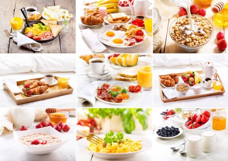 Photo for Collage of various healthy breakfast - Royalty Free Image