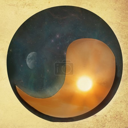 Photo for Textured Yin Yang conceptual vintage background with day and night parts- Elements of this image are furnished by NASA - Royalty Free Image