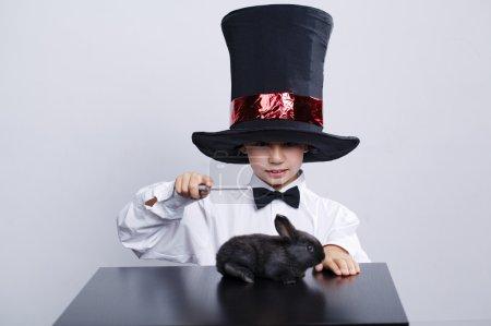 Little magician with rabbit studio shot