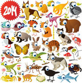 big vector set of big eyed animals
