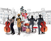 Series of the streets with musicians in the old city
