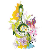 Summer music with flowers and butterfly colorful splashes