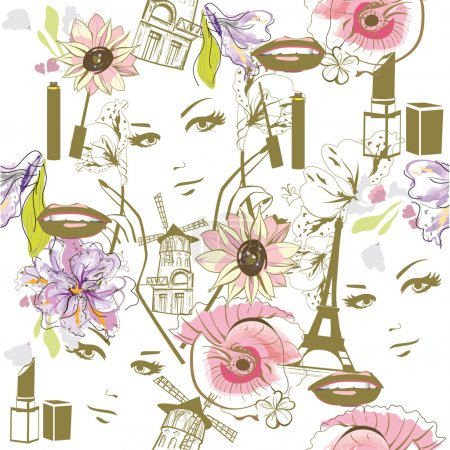 Fashion background with faces.