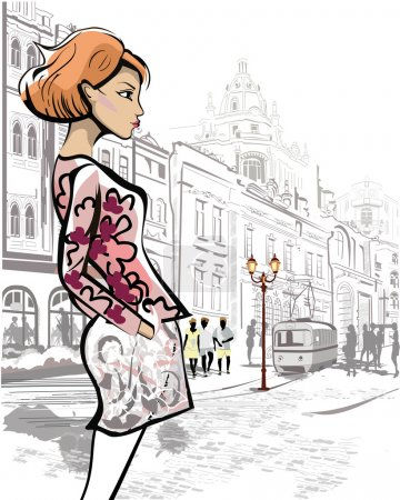 Fashion girl in the street of an old town