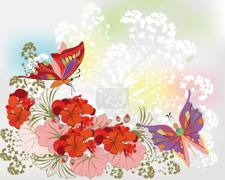 Delicate floral background with red flowers and butterflies