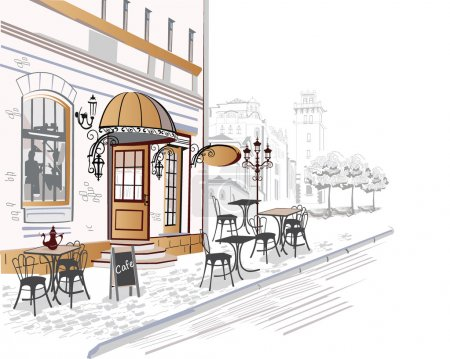 Series of  beautiful old city views with cafes