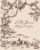 Christmas party background with sweets and cakes Hand drawn vector illustration for menu design brochures cards