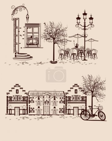 Series of backgrounds decorated with old town views and street cafes.