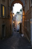 Narrow street in Quirinal district in Rome. Italy