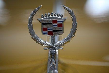 Cadillac metallic logo closeup on