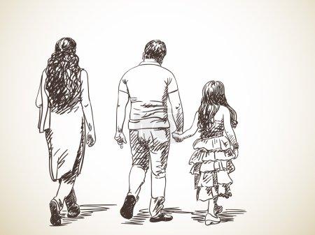 Sketch of walking indian family