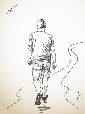 Illustration pour Croquis d'un marcheur de dos. Tiré à la main. Illustration vectorielle - image libre de droit