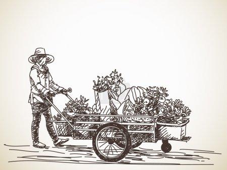 Sketch of hawker with flower cart