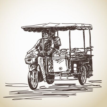 Hand drawn sketch of tricycle motorbike