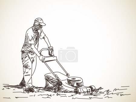 Sketch of man with lawnmower